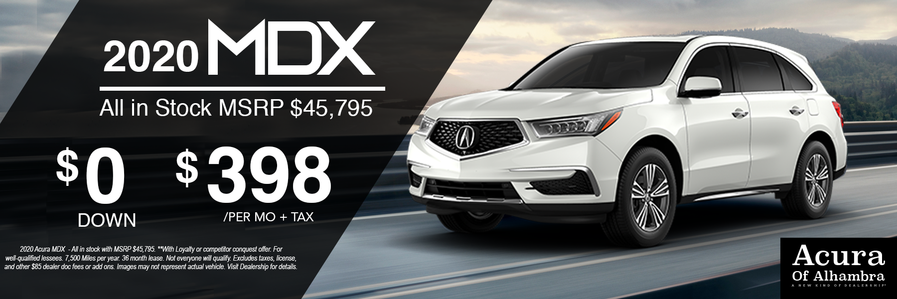 White Acura MDX Vehicle for $398 Per Month + Tax