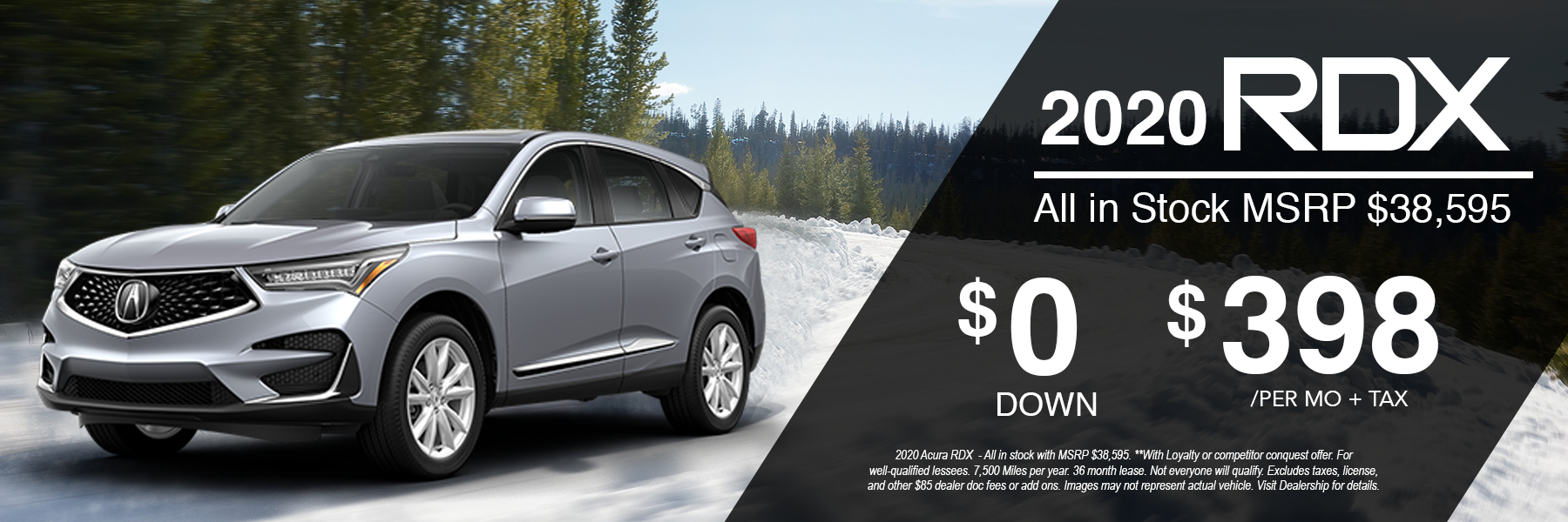 SIlver Acura RDX for $398 Per Month + Tax