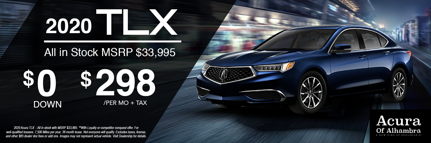 Blue Acura TLX Vehicle for $298 Per Month + tax