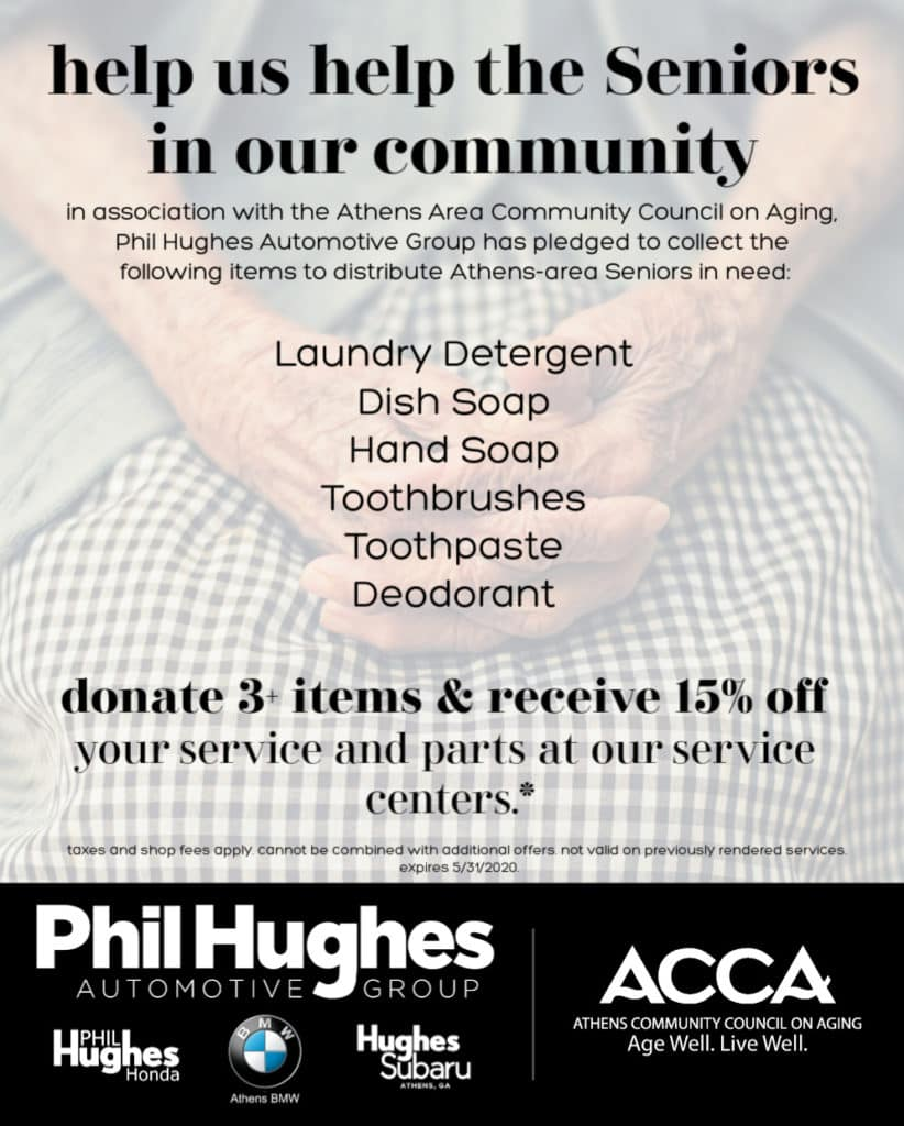 Athens Community Council on Aging Meals on Wheels Senior Hygiene Commodity Drive Athens BMW Athens GA
