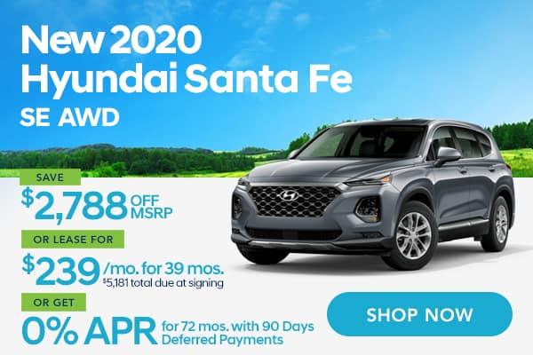 New 2020 Hyundai Santa Fe SE AWD