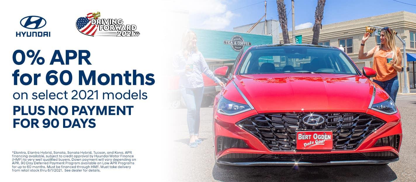 0% APR For 60 Months On Select 2021 Hyundai Models Plus No Payments For 90 Days - Bert Ogden Harlingen Hyundai in Harlingen, Texas