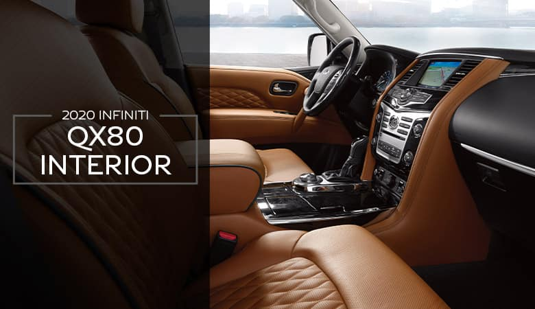 An interior view of the 2020 INFINITI QX80, on sale at Bert Ogden INFINITI in Edinburg, TX