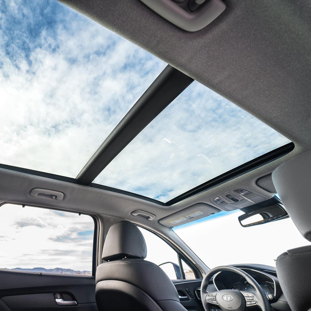 The 2020 Hyundai Santa Fe model features at Boch Hyundai of Norwood MA | MY20 SantaFe Interior Sunroof