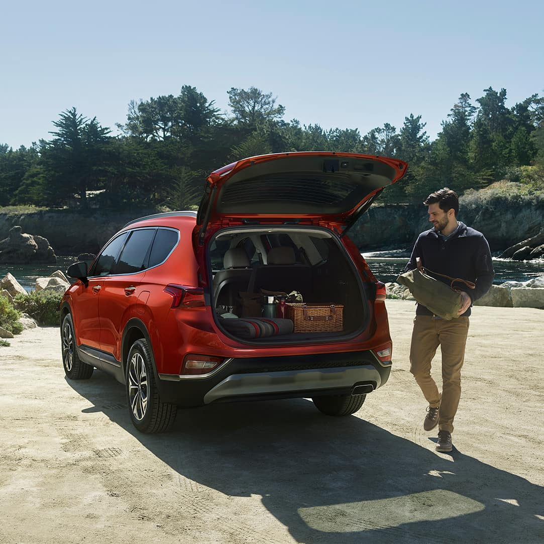 The 2020 Hyundai Santa Fe model features at Boch Hyundai of Norwood MA | Orange MY20 SantaFe Open Trunk