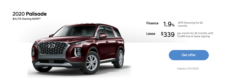New Hyundai Palisade February Lease Special Price in Auburn, WA