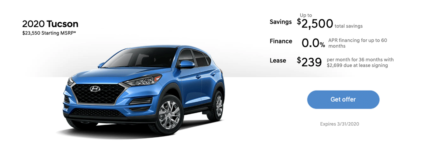 2020 Hyundai Tucson Lease Price Special Offer