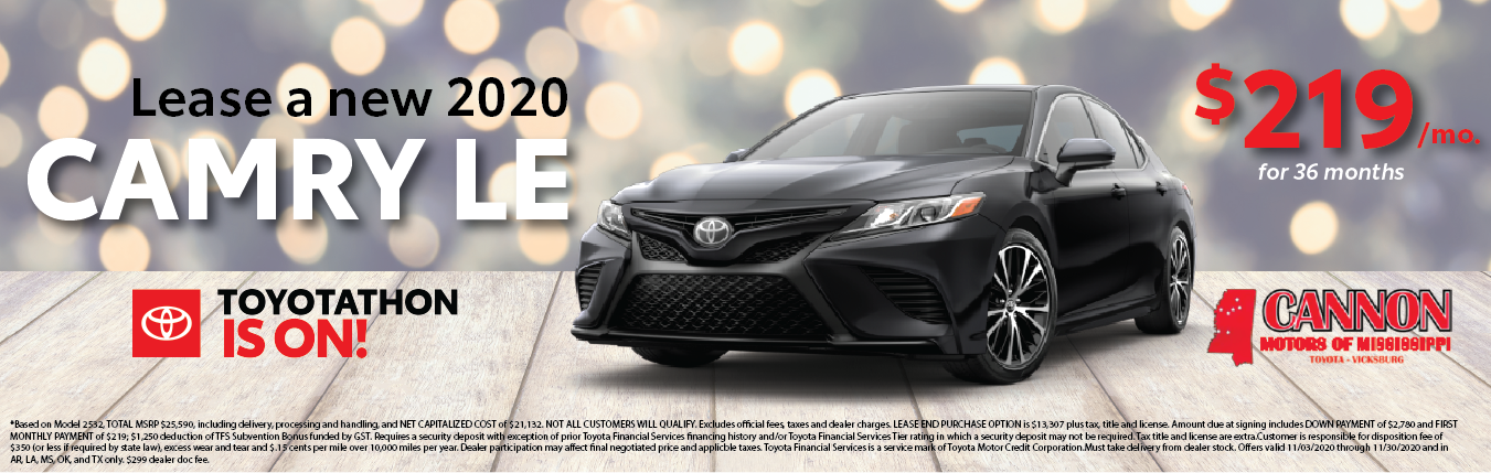 lease a 2020 toyota camry for $219 per month