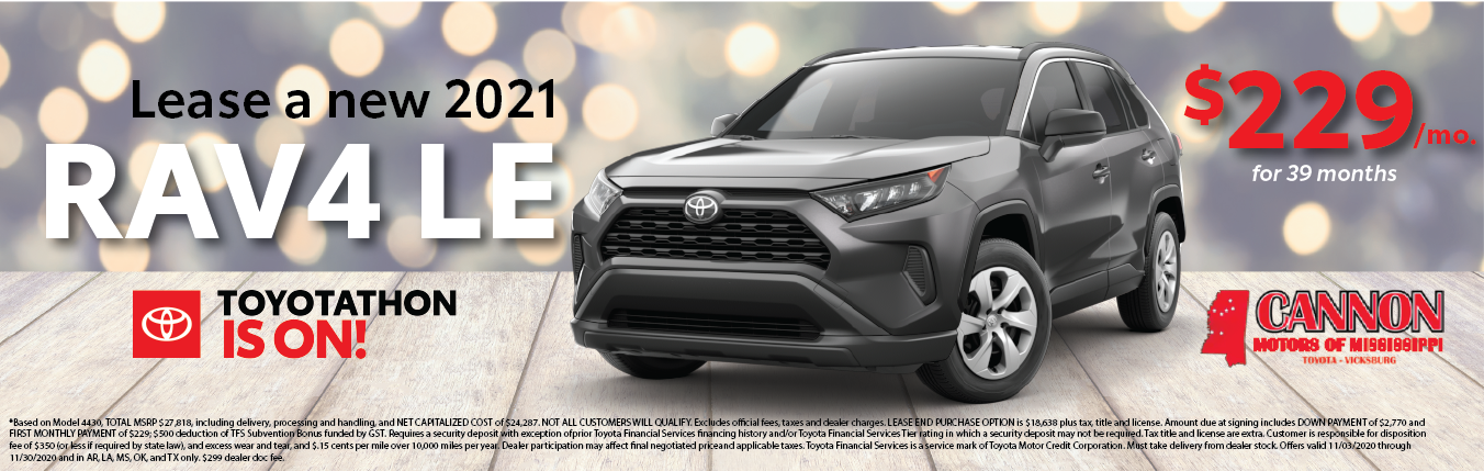 lease a 2021 toyota rav 4 for $229 per month