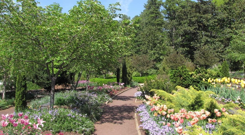 The Duke Gardens in Durham, NC, are shown.