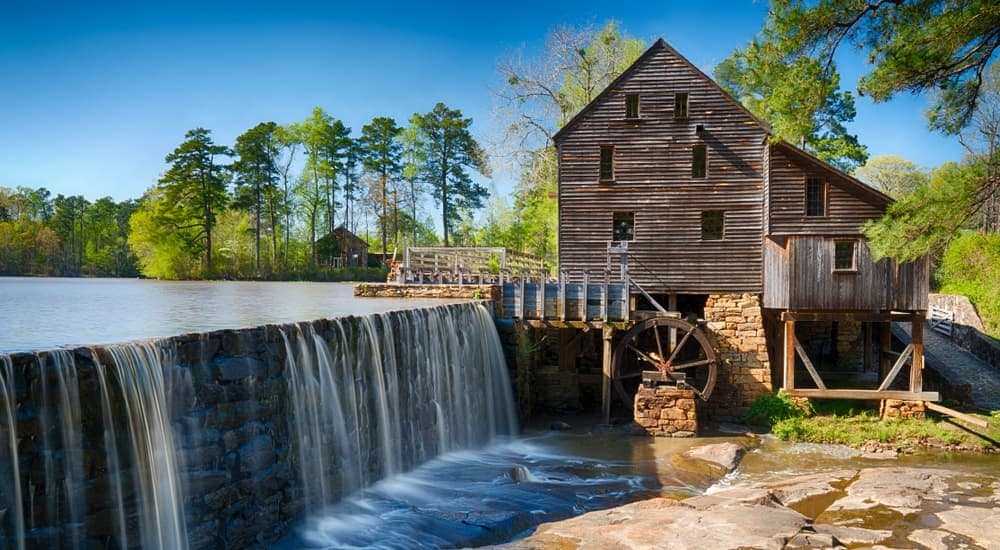 The building at the Historic Yates Water Mill is shown.
