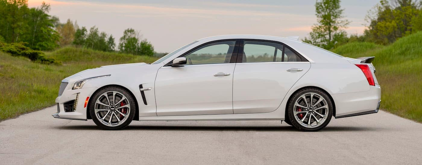 A white 2016 Cadillac CTS-V is parked side ways across a road near Indiana, PA.