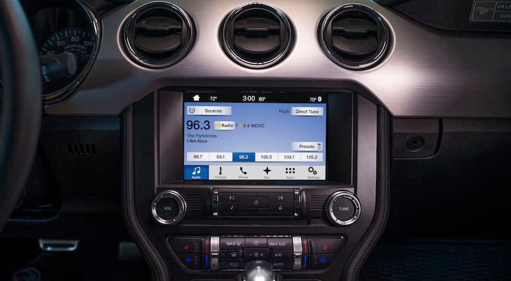 A close up of the infotainment system of a 2017 Ford Mustang is shown.