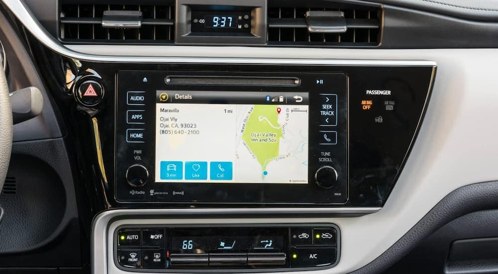 A close up of a 2017 Toyota vehicle's infotainment system is shown.