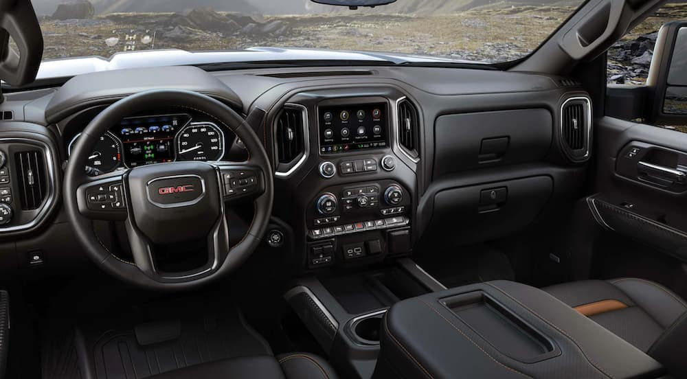The black interior of a 2020 GMC Sierra 2500 is shown.