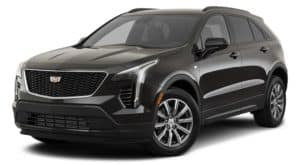 A black 2021 Cadillac XT4 is angled left.