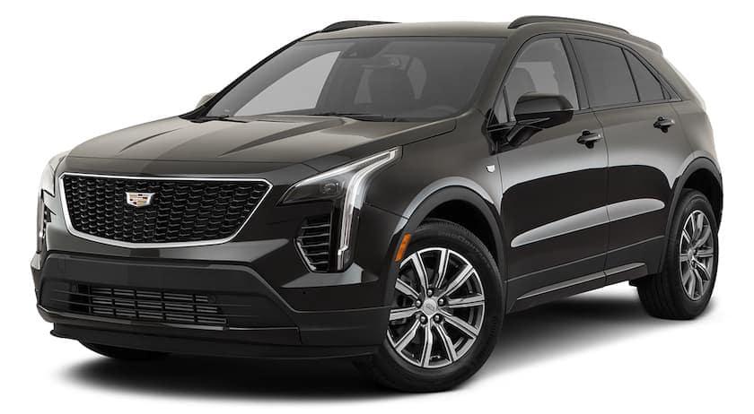 A black 2021 Cadillac XT4 is angled left.