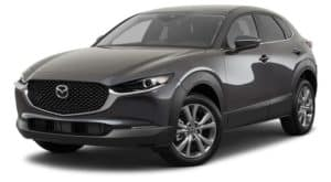 A black 2021 Mazda CX-30 is angled left.