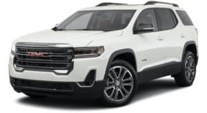 A white 2021 GMC Acadia is angled left.
