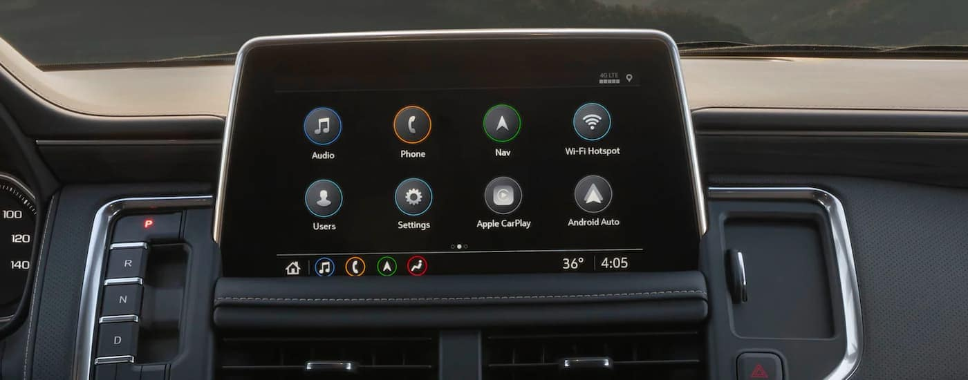 A close up shows the infotainment screen and apps on a 2021 GMC Yukon.