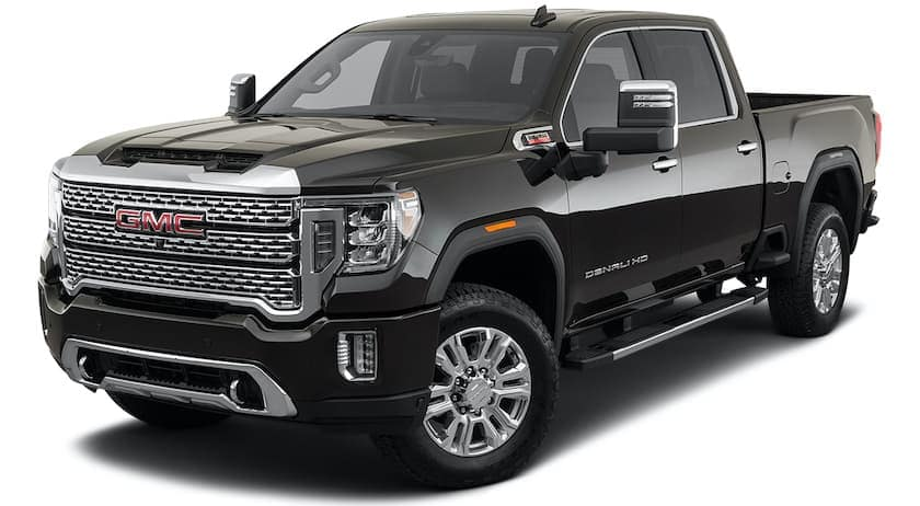A black 2021 GMC Sierra 2500HD is angled left.