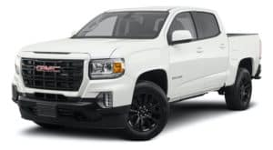 A white 2021 GMC Canyon is angled left.