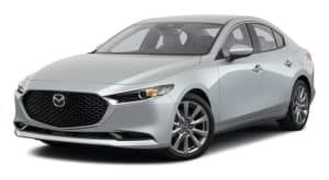 A silver 2021 Mazda3 sedan is angled left.