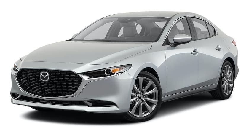 A silver 2021 Mazda3 sedan is angled left.