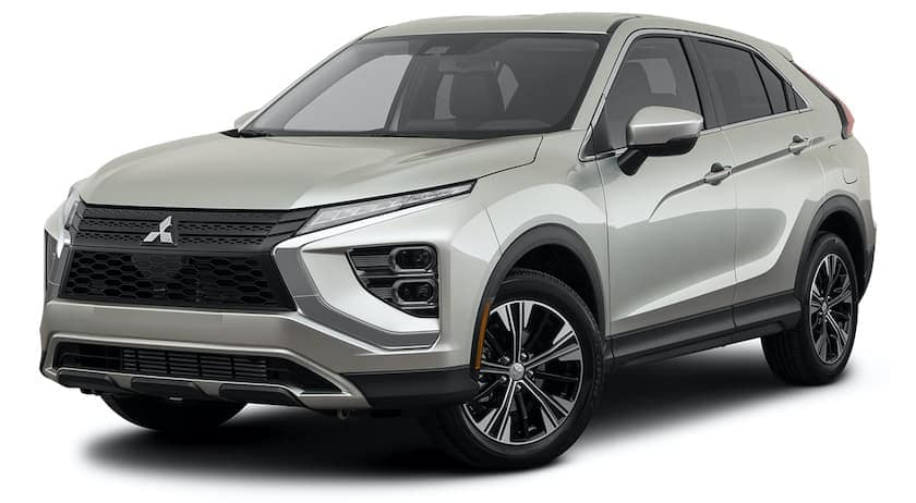A silver 2022 Mitsubishi Eclipse Cross is angled left.