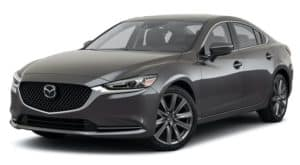 A grey 2021 Mazda 6 Touring is angled left.