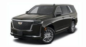 A black 2021 Cadillac Escalade is angled left.
