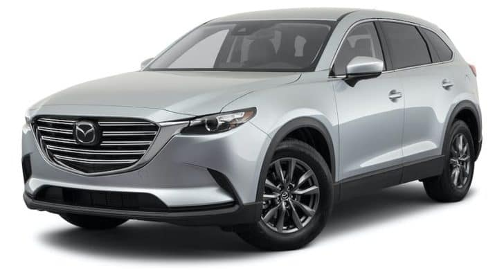 A silver 2021 Mazda CX-9 Touring is angled left.