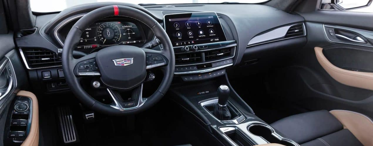The black and tan interior is shown in a 2022 Cadillac CT5-V Blackwing.