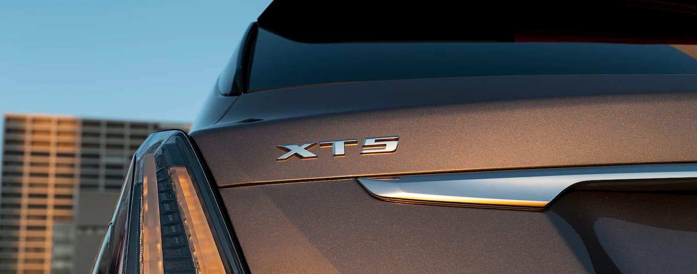 """The 'XT5"""" badge is shown on the rear of a 2022 Cadillac XT5."""