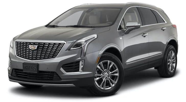 A grey 2022 Cadillac XT5 Premium is angled left.