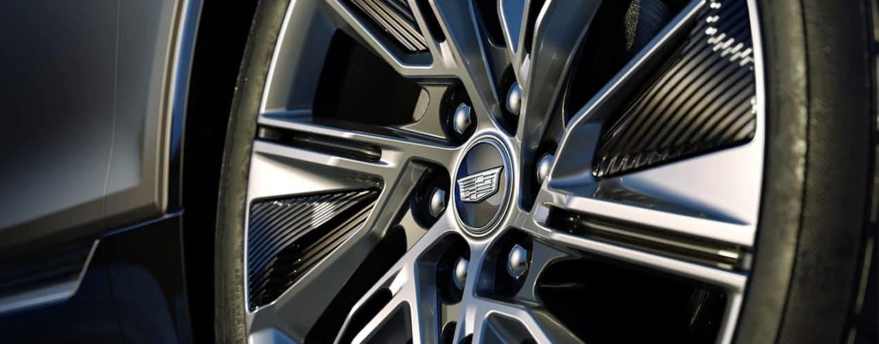 A close up shows the wheel on a 2023 Cadillac Lyriq.