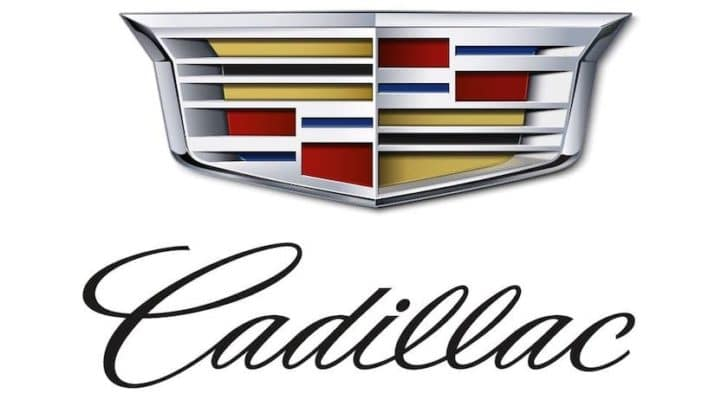 The Cadillac logo is shown against a white background.