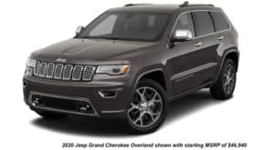 A black 2020 Jeep Grand Cherokee Overland is angled left.
