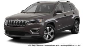 A brown 2020 Jeep Cherokee Limited is angled left.