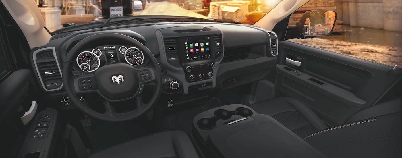 The black interior of a 2020 Ram 2500 is shown.