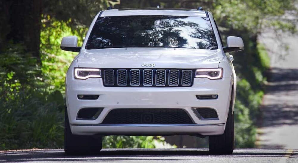 A white 2020 Jeep Grand Cherokee is shown from the front on a tree-lined road near Lexington, KY.