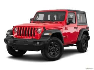 A red 2020 Jeep Wrangler is angled left.