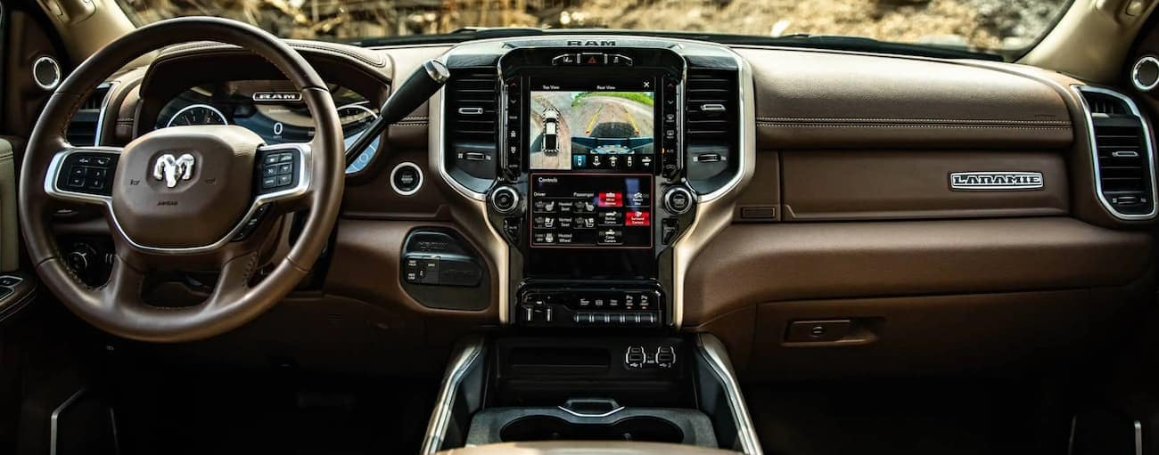 The dashboard and screen are shown in a 2020 Ram 3500.