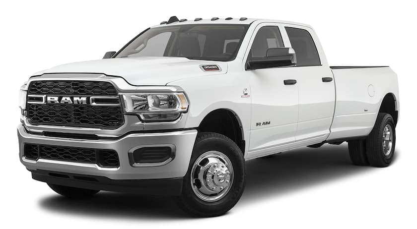A white 2020 Ram 3500 is angled left.