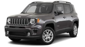 A dark gray 2021 Jeep Renegade Latitude is angled left.