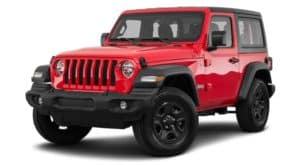A red 2021 Jeep Wrangler is angled left.