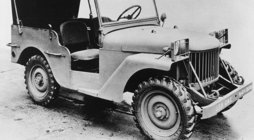 A black and white photo is showing a 1940 used Jeep Wrangler.