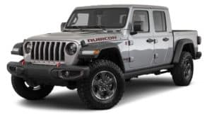 A silver 2021 Jeep Gladiator Rubicon is angled left.