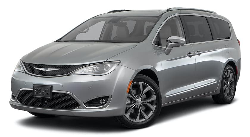 A silver 2021 Chrysler Pacifica is angled left.