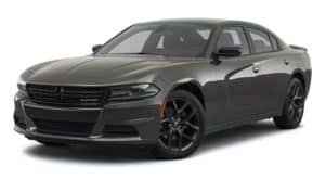 A black 2021 Dodge Charger is angled left.